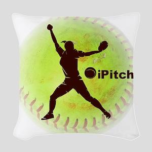 iPitch Fastpitch Softball (rig Woven Throw Pillow