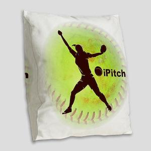 iPitch Fastpitch Softball (rig Burlap Throw Pillow