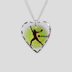 iPitch Fastpitch Softball (ri Necklace Heart Charm