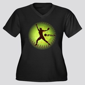 iPitch Fastp Women's Plus Size Dark V-Neck T-Shirt