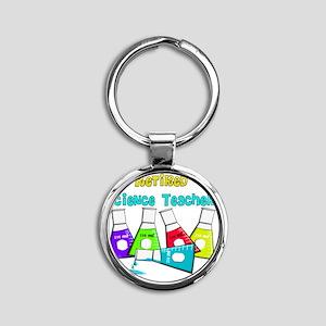 Retired Science Teacher Beekers 201 Round Keychain