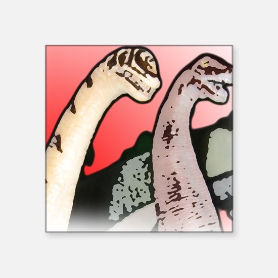 "Two Dinos Layers_Large Whit Square Sticker 3"" x 3"""