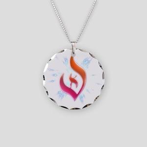 Deist Flame Starburst Necklace Circle Charm