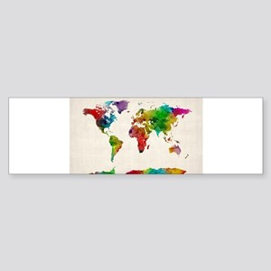 Watercolor Map of the World Map Bumper Sticker