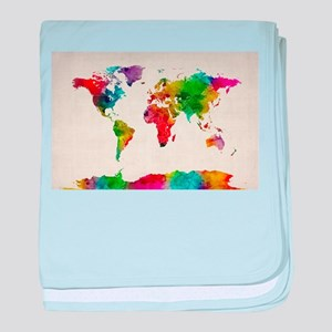Watercolor Map of the World Map baby blanket
