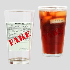 BIRTH CERT FAKE red Drinking Glass
