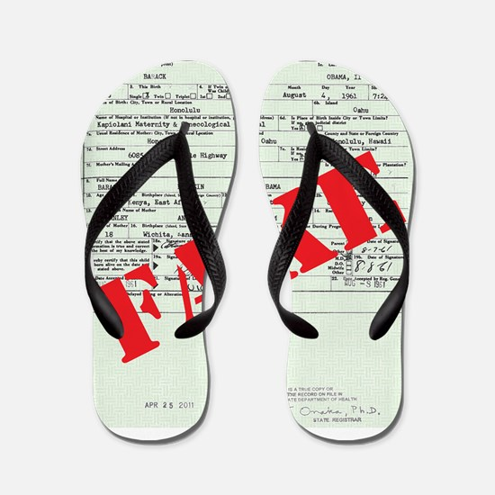 BIRTH CERT FAKE red Flip Flops