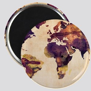 Watercolor World Map Magnets