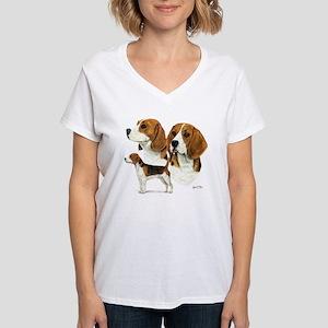 Beagle Multi Women's V-Neck T-Shirt
