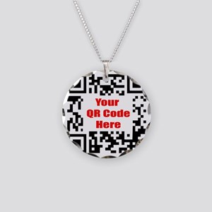 Personalized QR Code Necklace Circle Charm