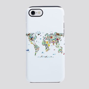 Animal Map of the World for ch iPhone 7 Tough Case