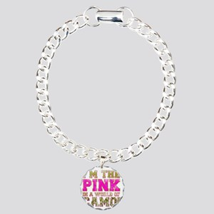 pink Charm Bracelet, One Charm
