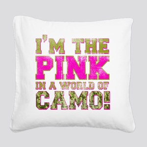 pink Square Canvas Pillow