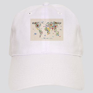 Animal Map of the World for children and kids Cap