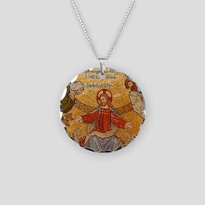 Isaiah 41-10 Jesus Mosaic Necklace Circle Charm