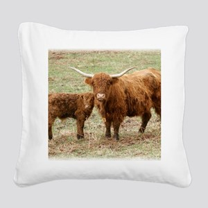 Highland Cow and calf 9Y316D- Square Canvas Pillow