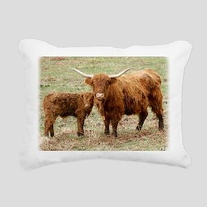 Highland Cow and calf 9Y Rectangular Canvas Pillow