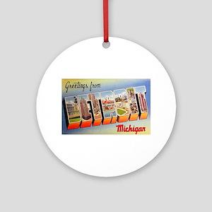 Detroit Michigan Greetings Ornament (Round)