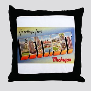 Detroit Michigan Greetings Throw Pillow