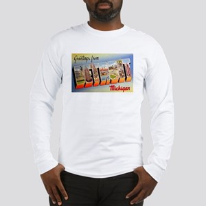 Detroit Michigan Greetings (Front) Long Sleeve T-S