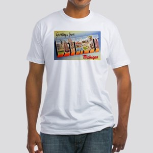 Detroit Michigan Greetings (Front) Fitted T-Shirt