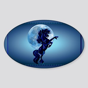 Wall Peel Rearing Stallion and Blue Sticker (Oval)