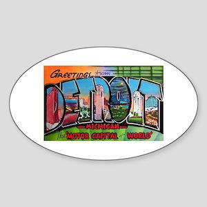 Detroit Michigan Greetings Oval Sticker
