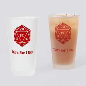 20 Sided Roll Red Drinking Glass