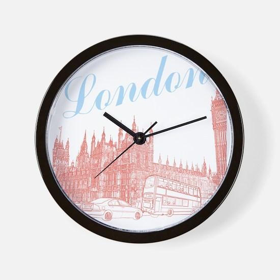 London_10x10_apparel_BigBen_LightBlueRe Wall Clock