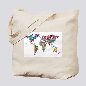 Text Map of the World Tote Bag