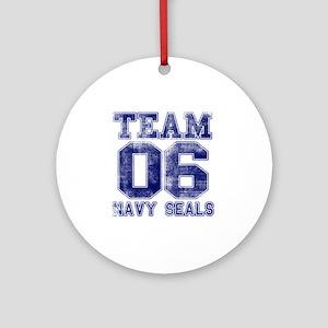 team6navy Round Ornament