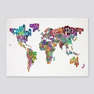 Text Map of the World 5'x7'Area Rug