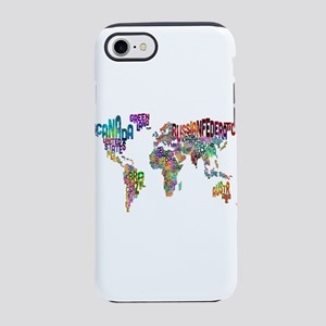 Text Map of the World iPhone 7 Tough Case