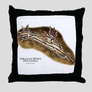 Orange-Spike Polycera Throw Pillow