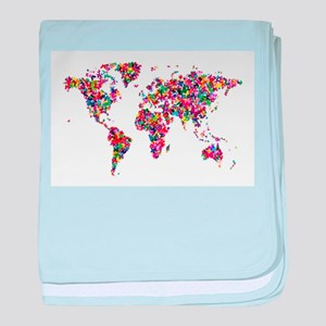 Butterflies Map of the World baby blanket