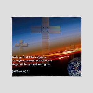 Matthew 6-33 Sunset Crosses Throw Blanket