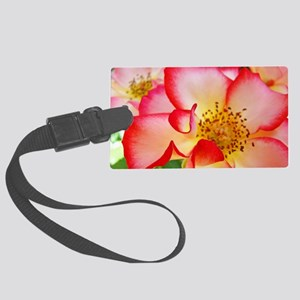 A Rose Pink White 12M Roses Rose Large Luggage Tag