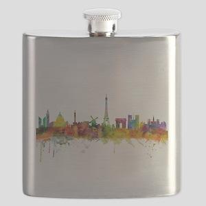 Paris France Skyline Flask