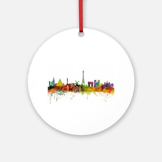 Paris France Skyline Round Ornament