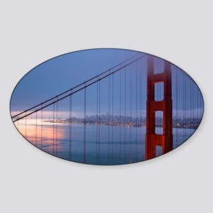 Golden Gate Bridge at Dawn Sticker (Oval)