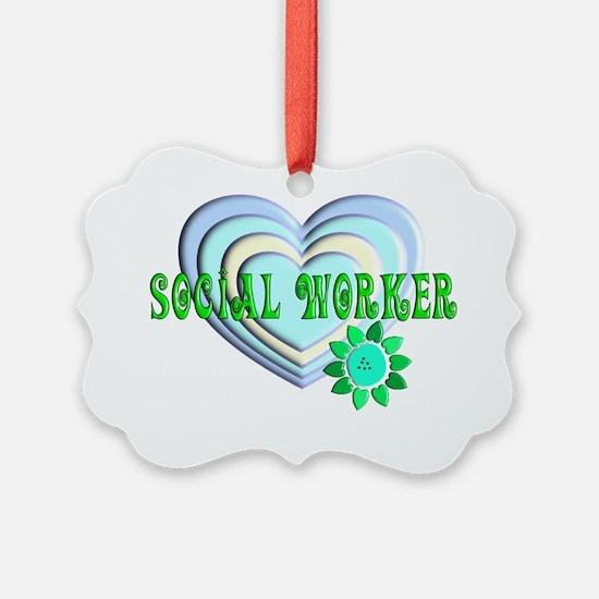 Social Worker Multi heart Blue Ornament