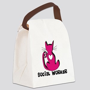 Social Worker Pink Cat Canvas Lunch Bag