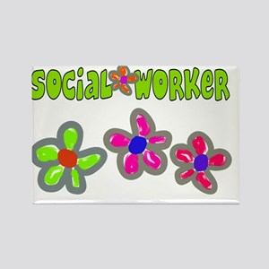 Social Worker BIg Flowers Green Rectangle Magnet