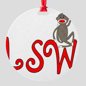 SW sock monkey Round Ornament