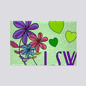 LSW Flowers Rectangle Magnet