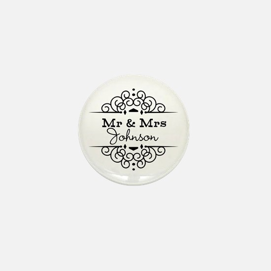 Personalized Mr and Mrs Mini Button (10 pack)