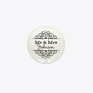 Personalized Mr and Mrs Mini Button