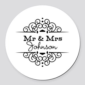 Personalized Mr and Mrs Round Car Magnet
