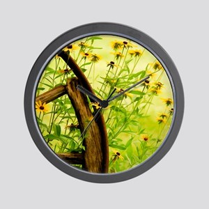 WheelBlackEyedSusans_blanket Wall Clock