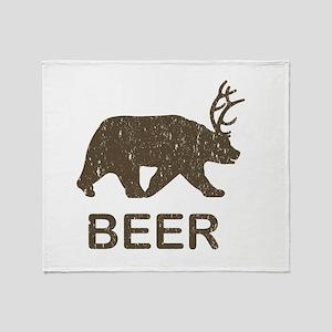 Beer Bear Deer Throw Blanket